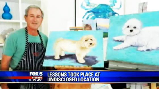 George Bush, con cuadros de perros