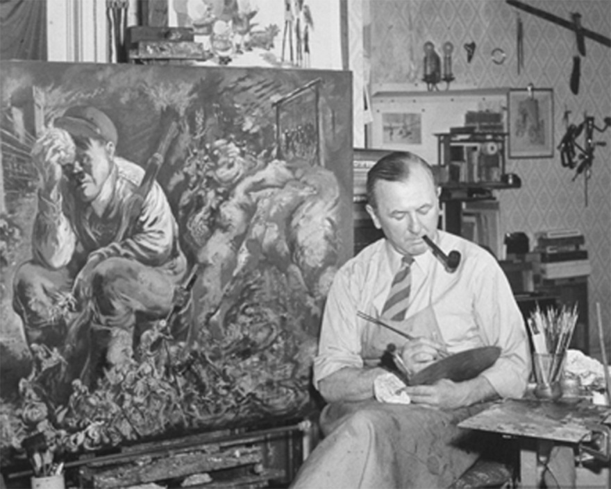 George Grosz pintando en su estudio.